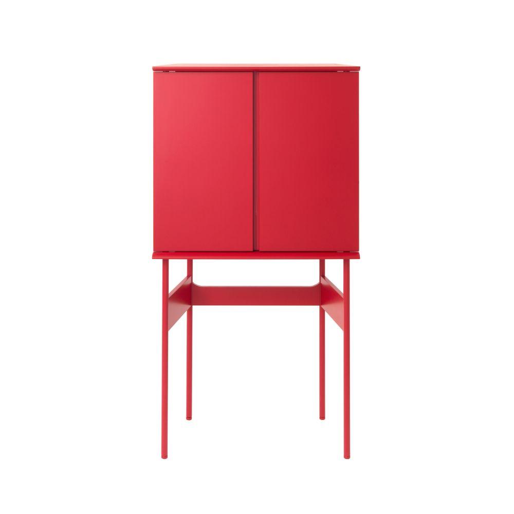 GUARD Barschrank in Akzentfarbe rot matt lackiert, geschlossen