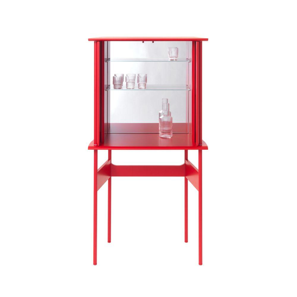 GUARD Barschrank in Akzentfarbe rot matt lackiert, mit Spiegel, Glasböden und LED-Beleuchtung