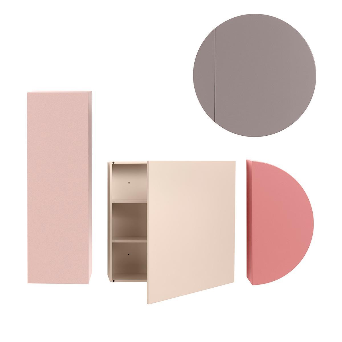 SIMETRIA Wandschrank, Rechteck, Quadrat, Kreis und Halbkreis