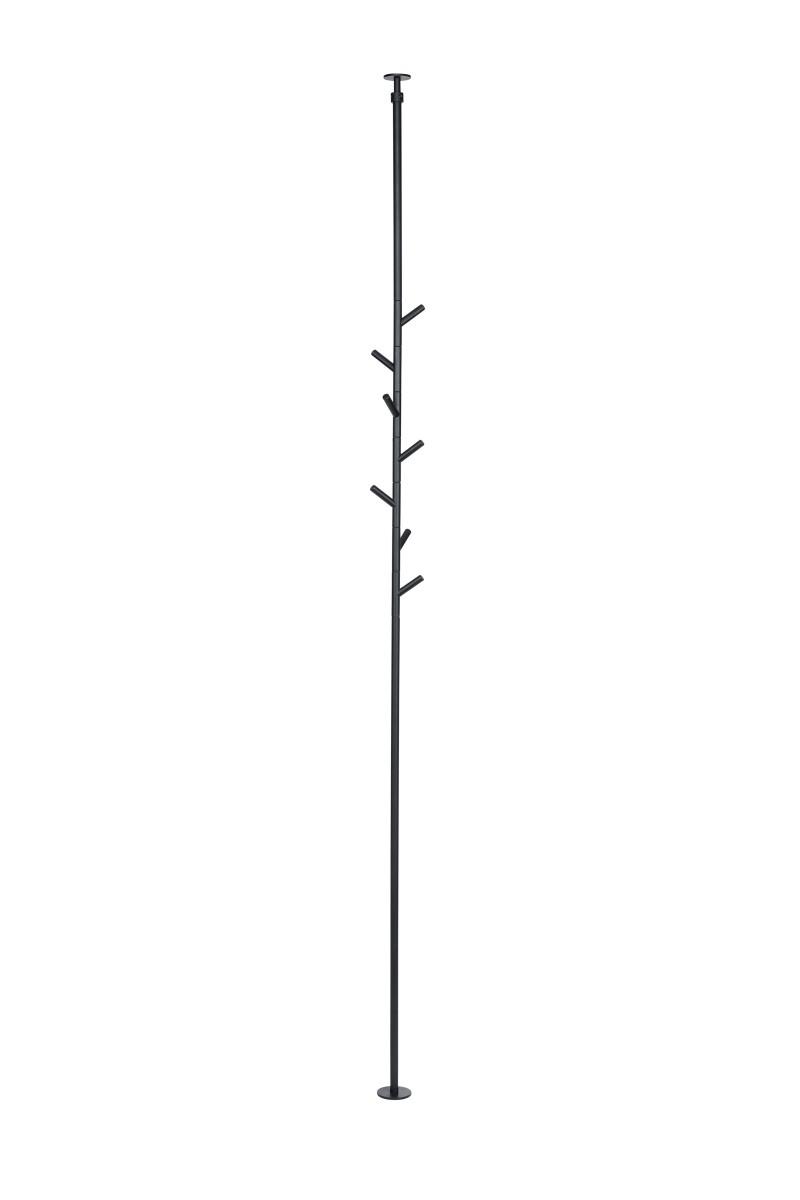 SUMI Spanngarderobe 230-260 cm mit 7 Haken, schwarz