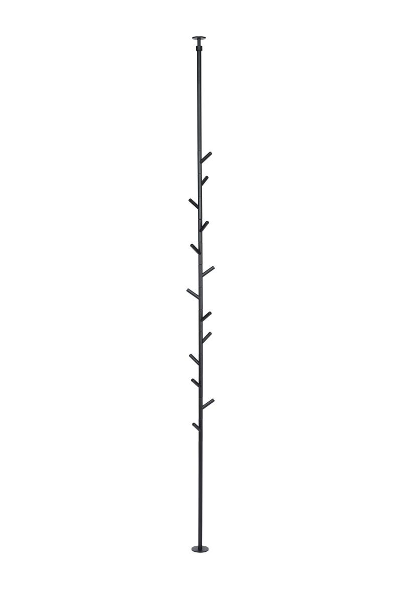 SUMI Spanngarderobe 230-260 cm mit 13 Haken, schwarz