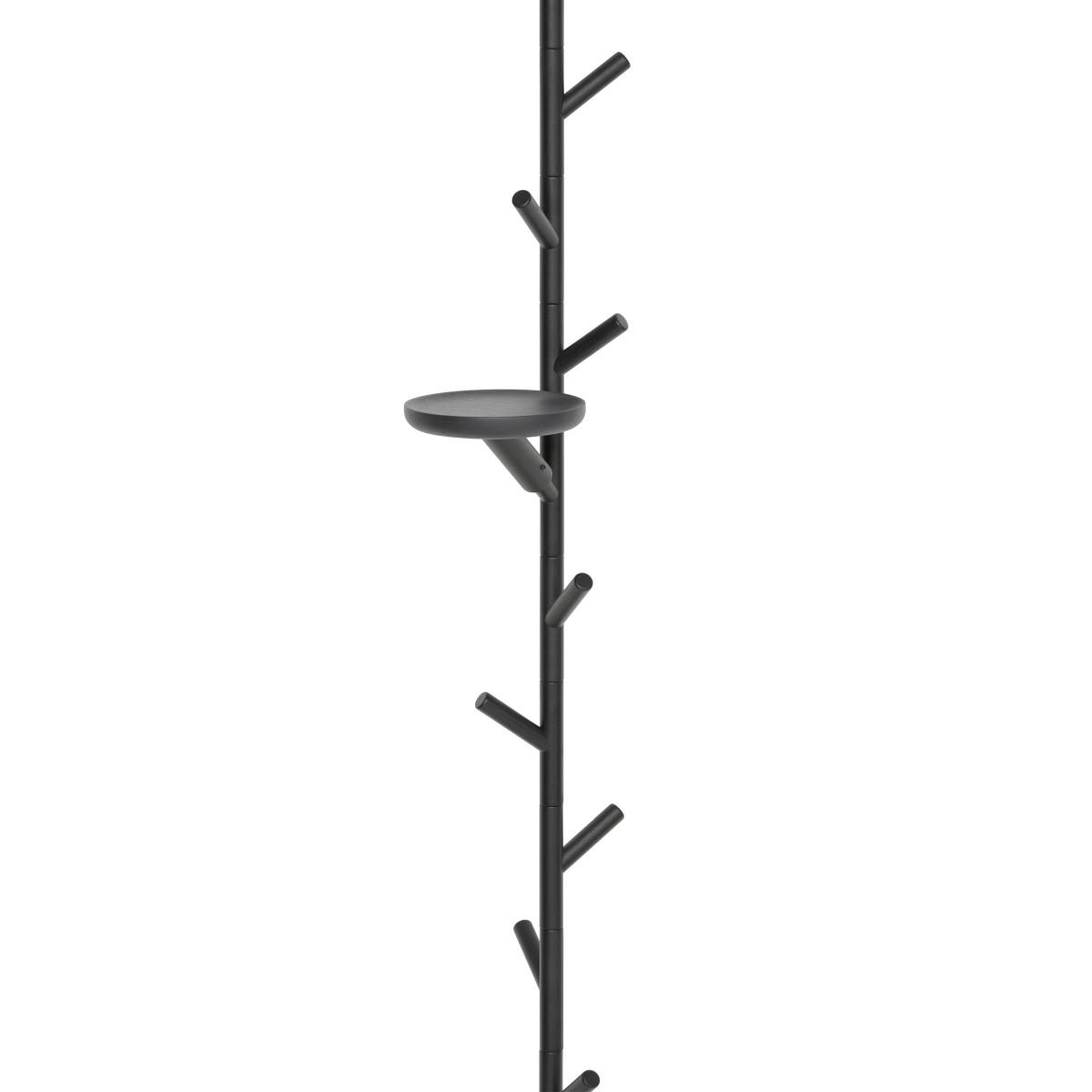 SUMI Spanngarderobe mit Ablage rund schwarz, offenporig lackiert