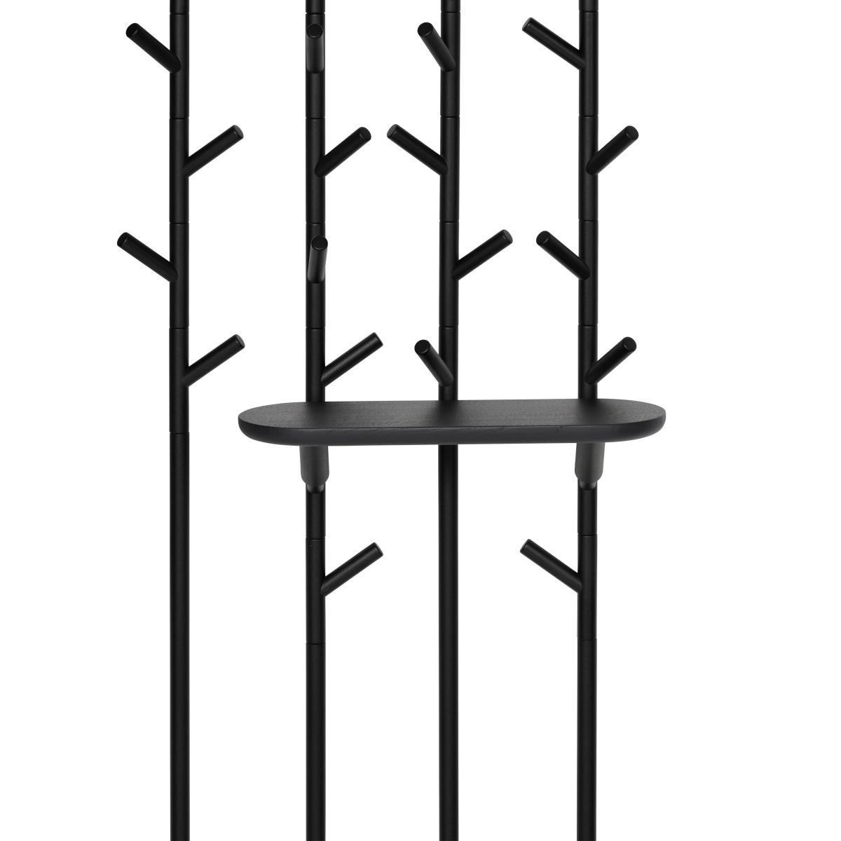 SUMI Wandgarderobe mit Zubehör lange Ablage in schwarz offenporig
