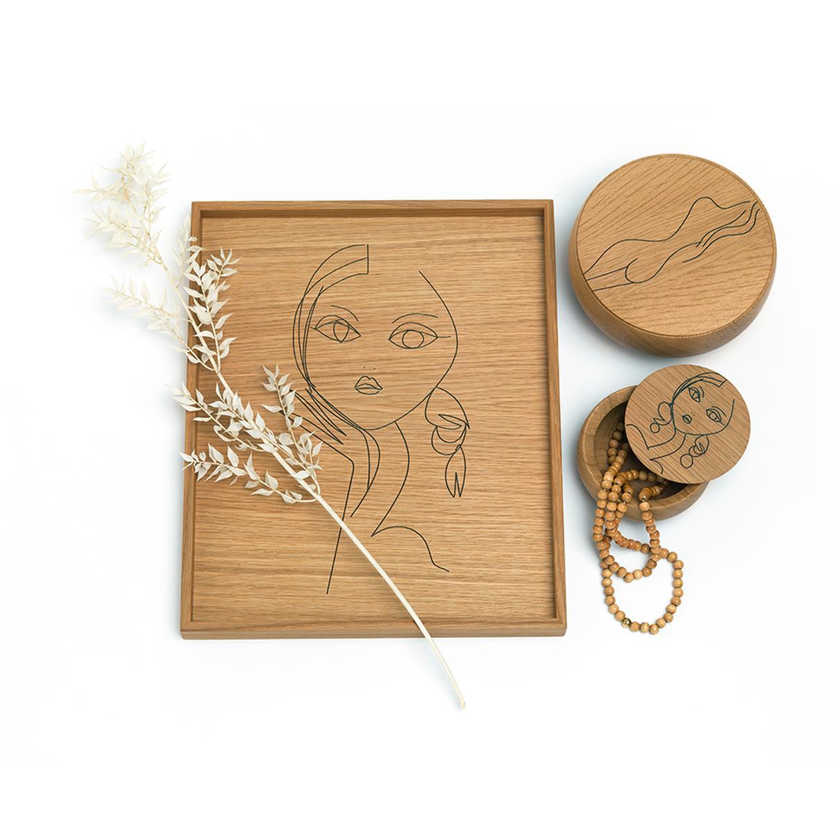 TRAY Tablett und BOWL Holzdosen Edition IRMA