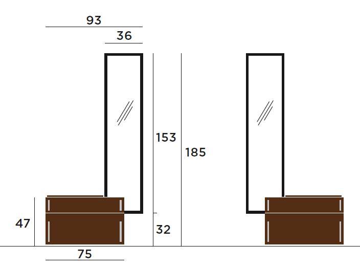 Iltios Wandgarderobe mit Sitzbank die Vermassung