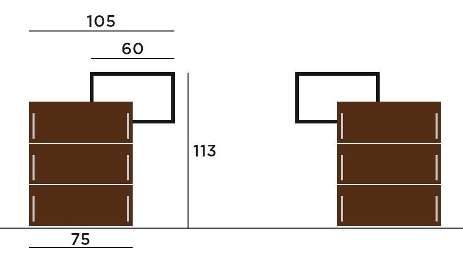 Iltios Schuhschrank mit 3 Schubladen, die Vermassung