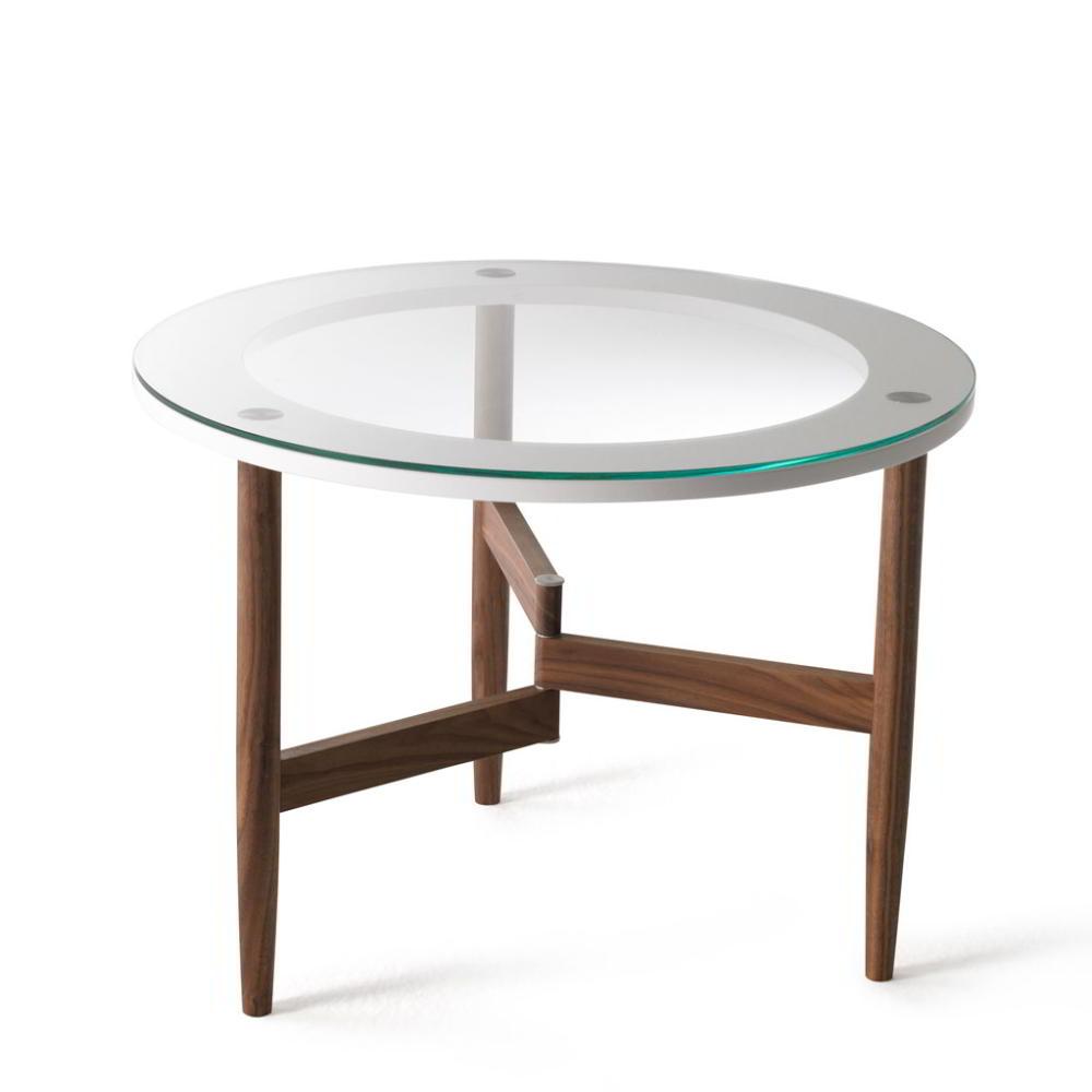 OBLO Couchtisch 45 cm, Nussbaum massiv geölt, mit Glasplatte, Ring weiß