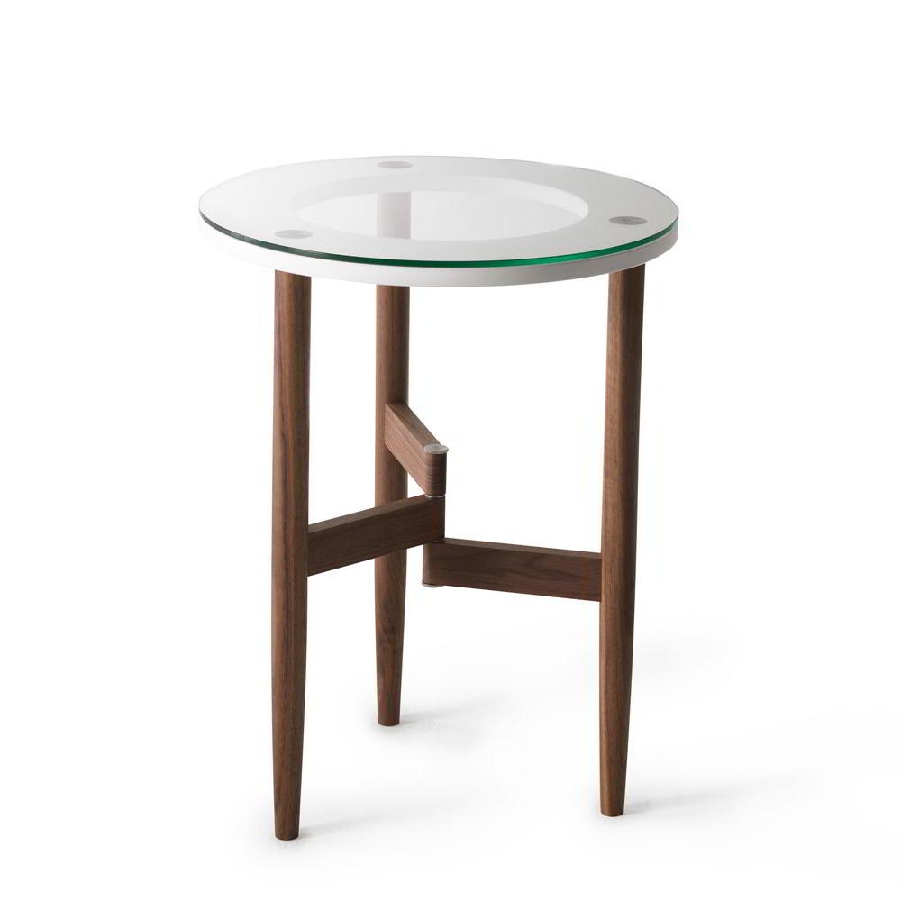 OBLO Beistelltisch 55 cm, Nussbaum massiv geölt, mit Glasplatte, Ring weiß