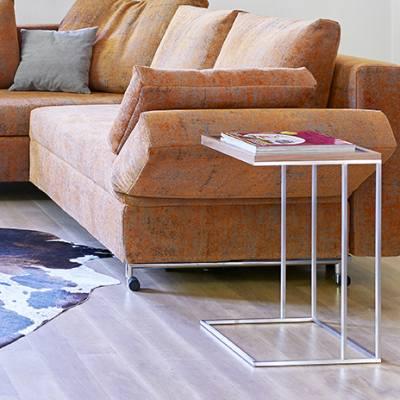 LINEA Beistelltisch 35 x 35 cm, Edelstahl, Eiche natur furniert