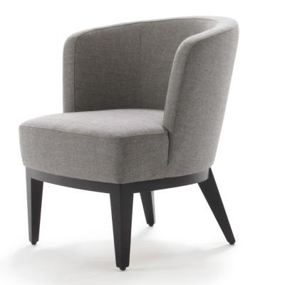 SUE Sessel, schwarz, Stoff grau, Seitenansicht