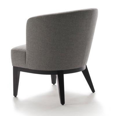 SUE Sessel, schwarz, Stoff grau, Rückansicht