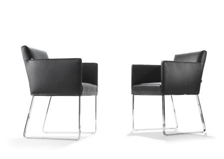 JASPE Stuhl mit Armlehne, Leder COLORADO, schwarz