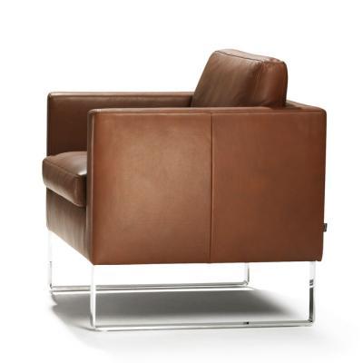 MINO Sessel mit Kufen, Leder schokobraun, Seitenansicht