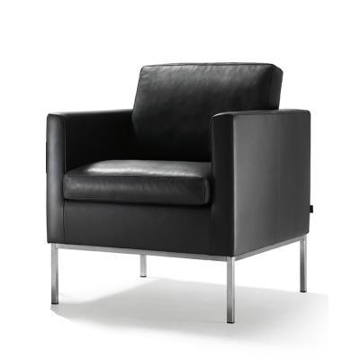 MINO Sessel mit Füßen, Leder schwarz