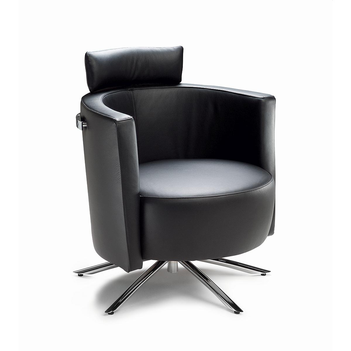 VITO Sessel in Leder COLORADO mit Kopfstütze und Reeling
