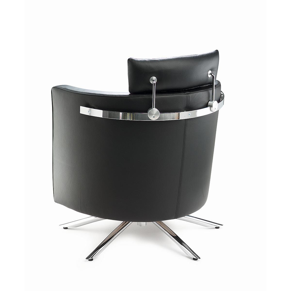 VITO Sessel in Leder COLORADO mit Kopfstütze und Reeling, Rückansicht
