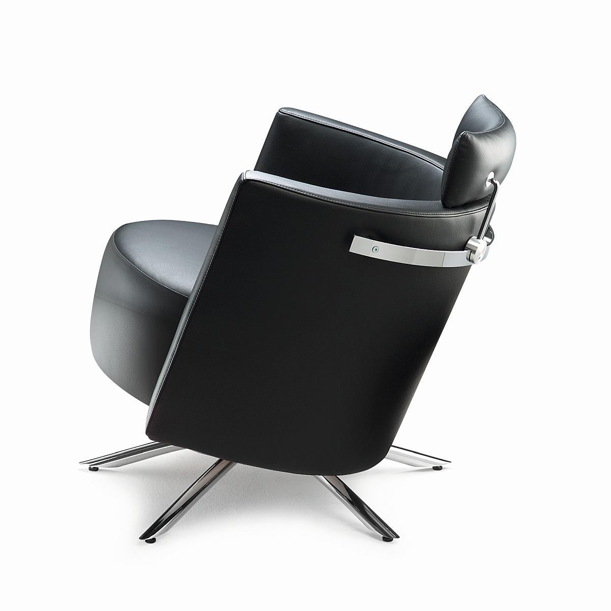 VITO Sessel in Leder COLORADO mit Kopfstütze und Reeling kann auch kippen