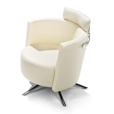 VITO Sessel, Leder COLORADO weiß inkl. Rückenstütze und Reling