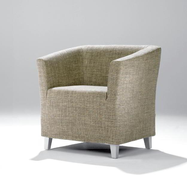 CAMILLA Sessel in Stoff mit Füßen aus Buche alufarbenen lackiert