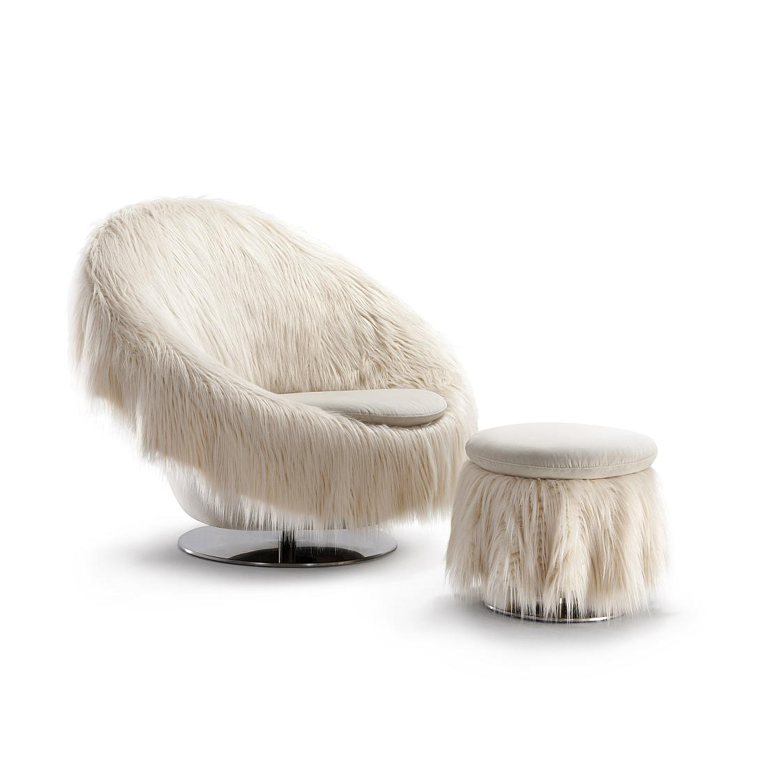BIG EASY Sessel, drehbar, mit Fellüberwurf