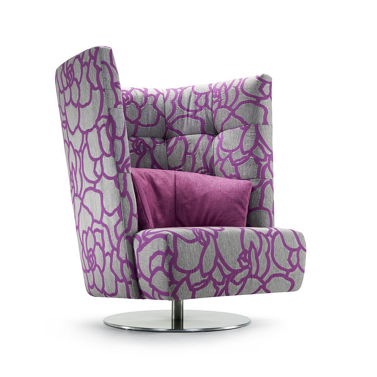 MATHEO Sessel hoch in HIPO violett, mit Drehfunktion