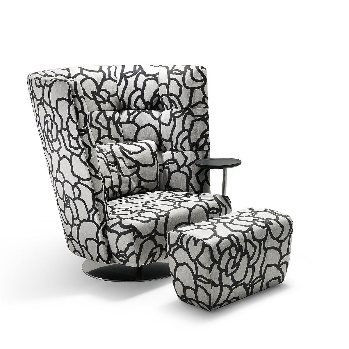 MATHEO Sessel hoch mit Hocker in HIPO schwarz