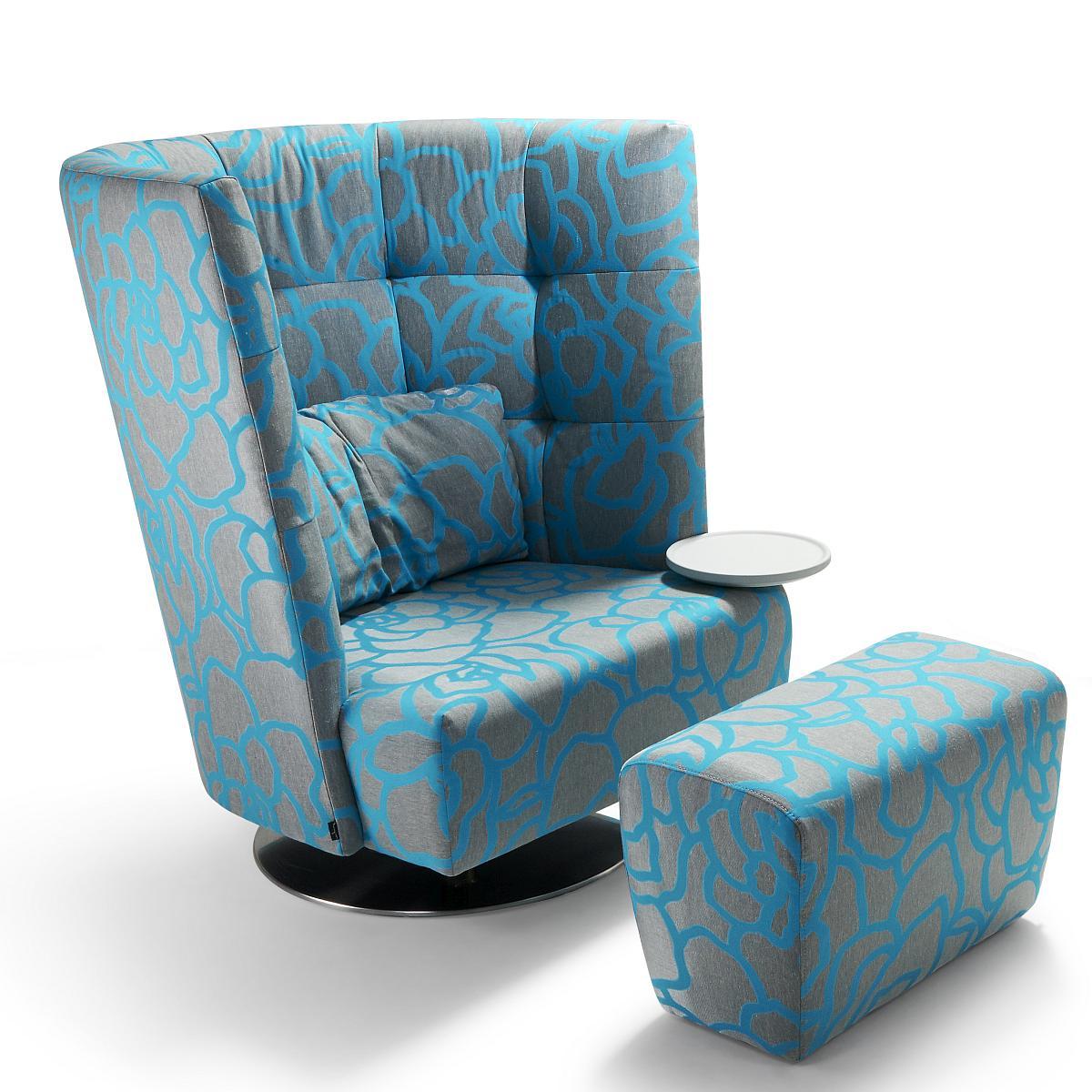 MATHEO Sessel hoch mit Hocker in HIPO türkis