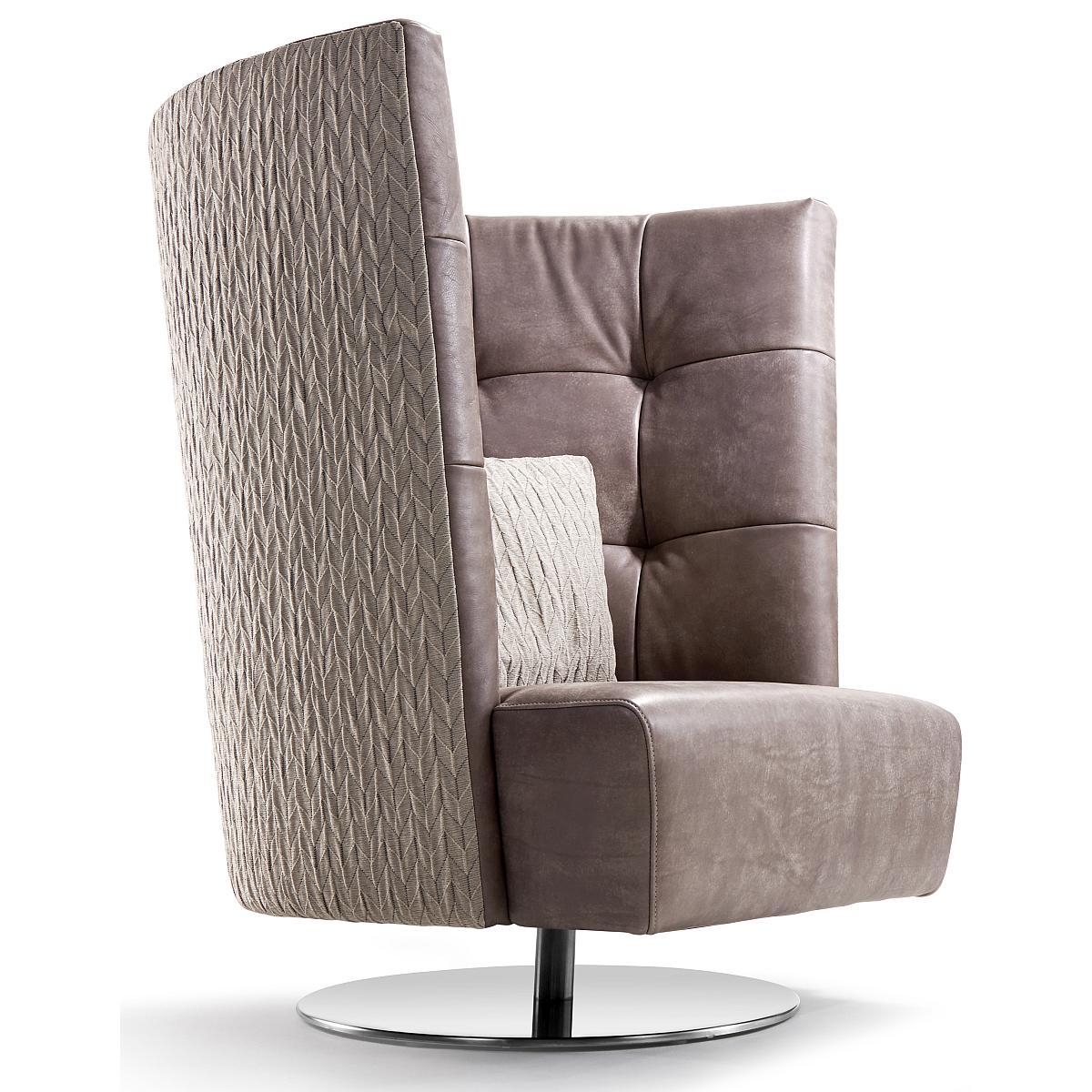 MATHEO Sessel hoch, Rückseite ORIGAMI, Innenschale und Sitz in Leder NAMIBIA