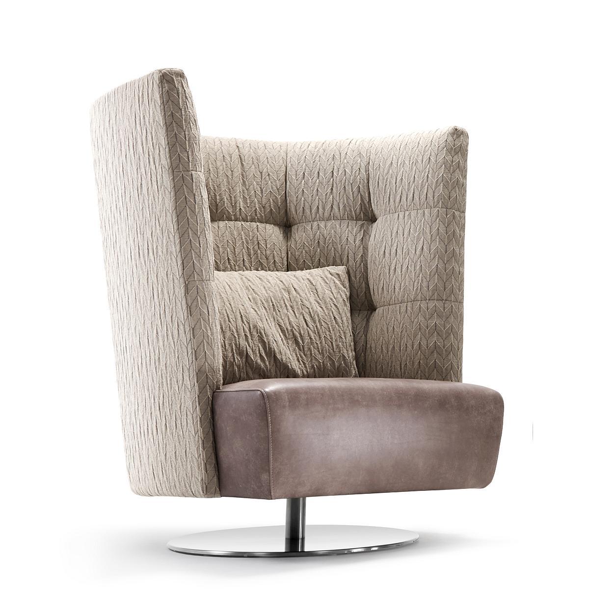 MATHEO Sessel hoch Rückseite und Innenseite in ORIGAMI, Sitz in Leder NAMIBIA