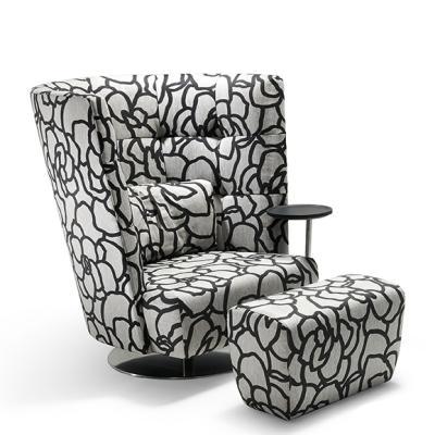 MATHEO Sessel hoch mit Stoff HIPO schwarz und Tisch sowie Hocker