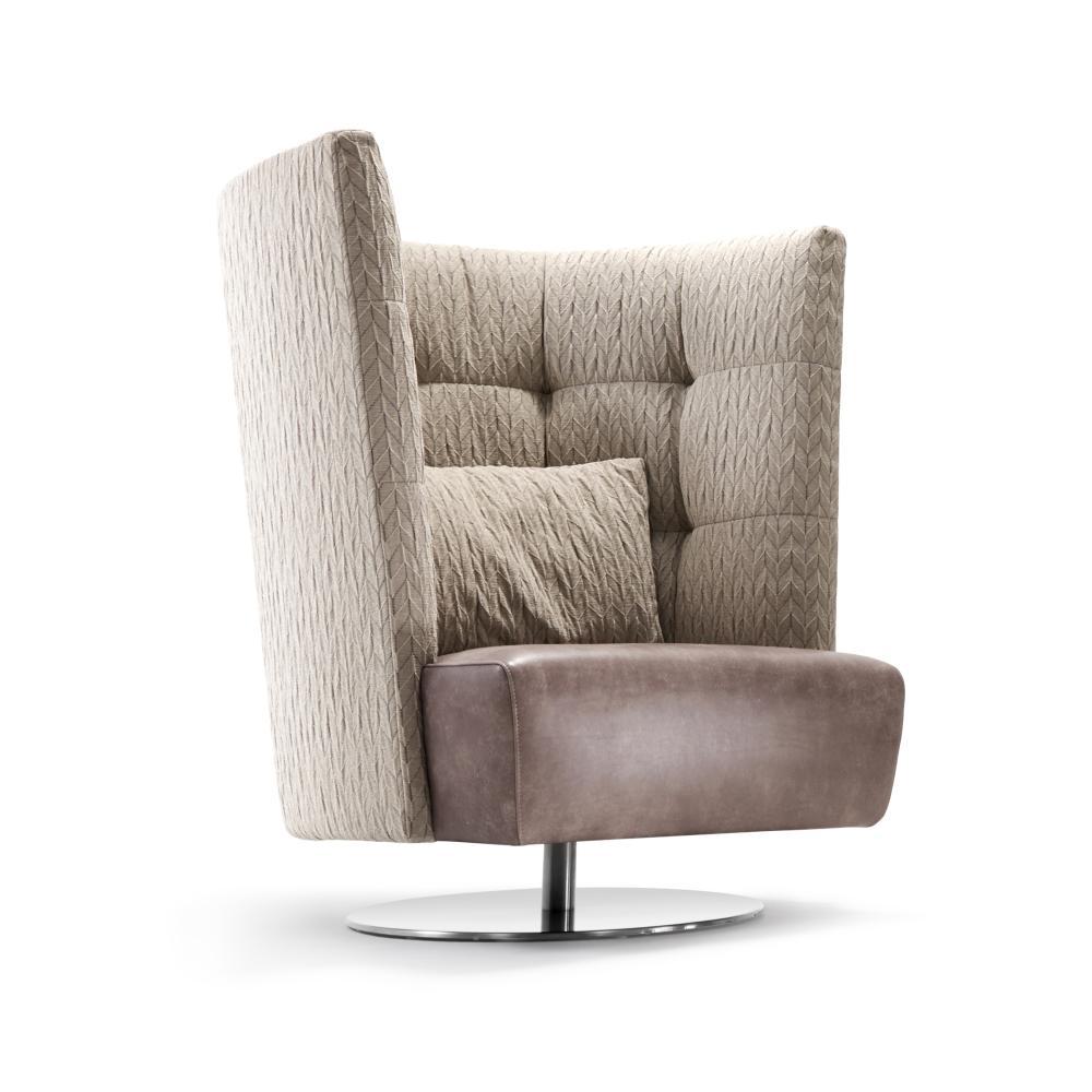 MATHEO Sessel hoch, gezeigt mit ORIGAMI Bezug und Sitz in Leder RANCHO
