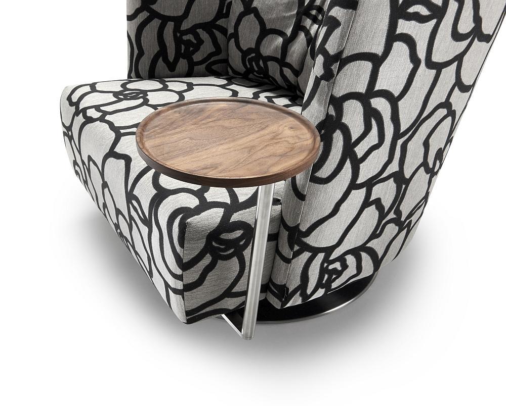 MATHEO Tisch rund Ø 26 cm mit Platte Nussbaum