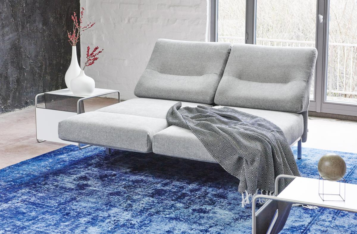 CHIMBA Sofa 2-sitzig, beide Sitze nach vorne gedreht, Gestell Edelstahl