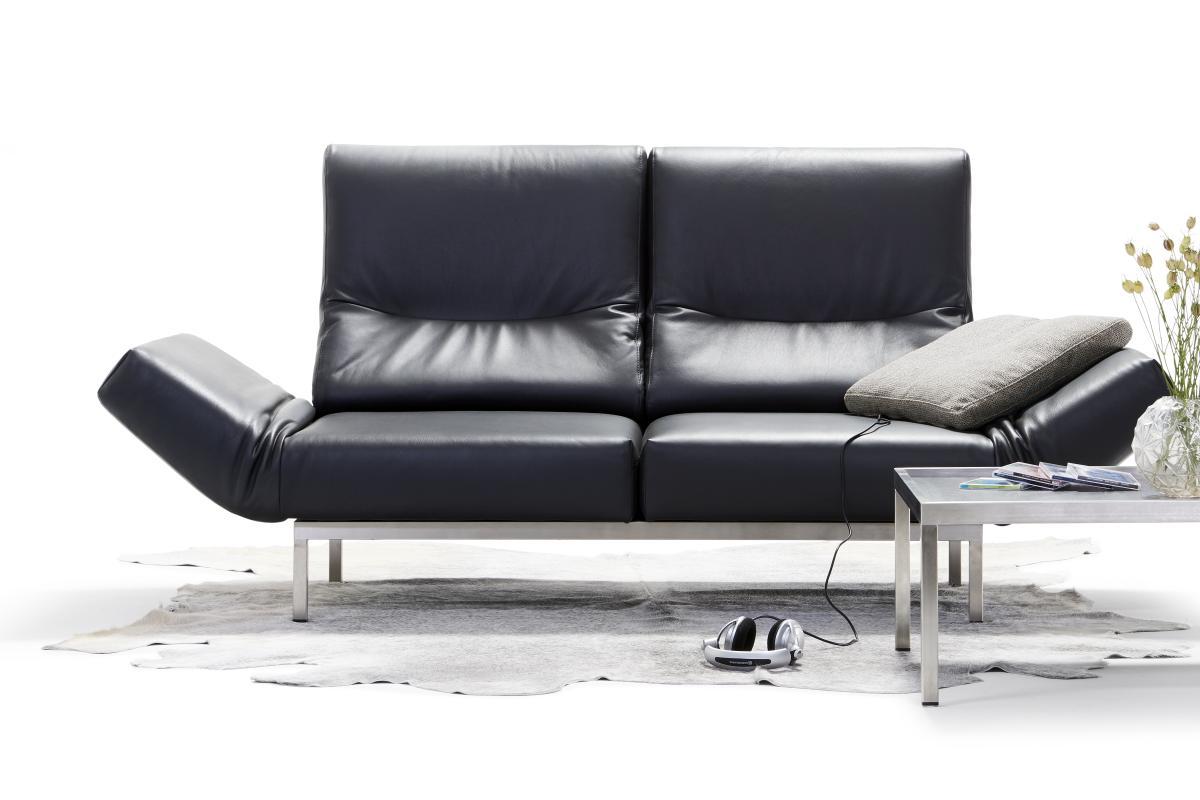 CHIMBA Sofa 2-sitzig, Leder, Sitze drehbar, verstellbare Armlehnen und Rückenlehnen, rechts mit Seitenbodenkissen, Gestell Edelstahl