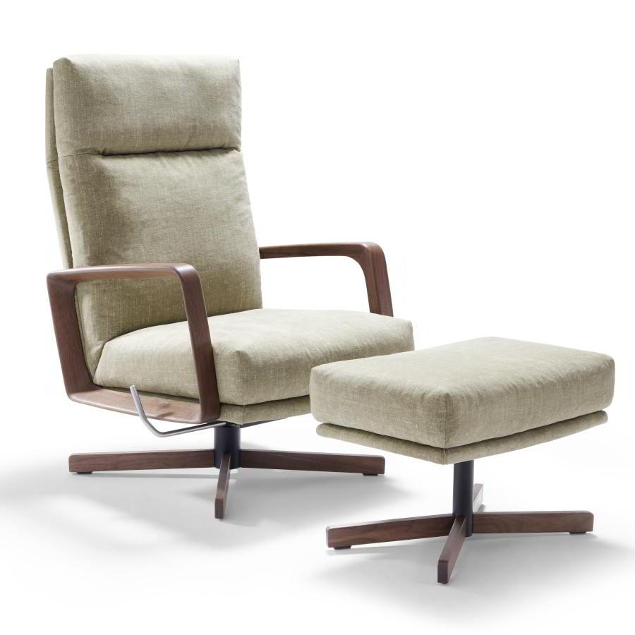 GIN Sessel mit Hocker, Gestelle und Armlehnen in Nussbaum