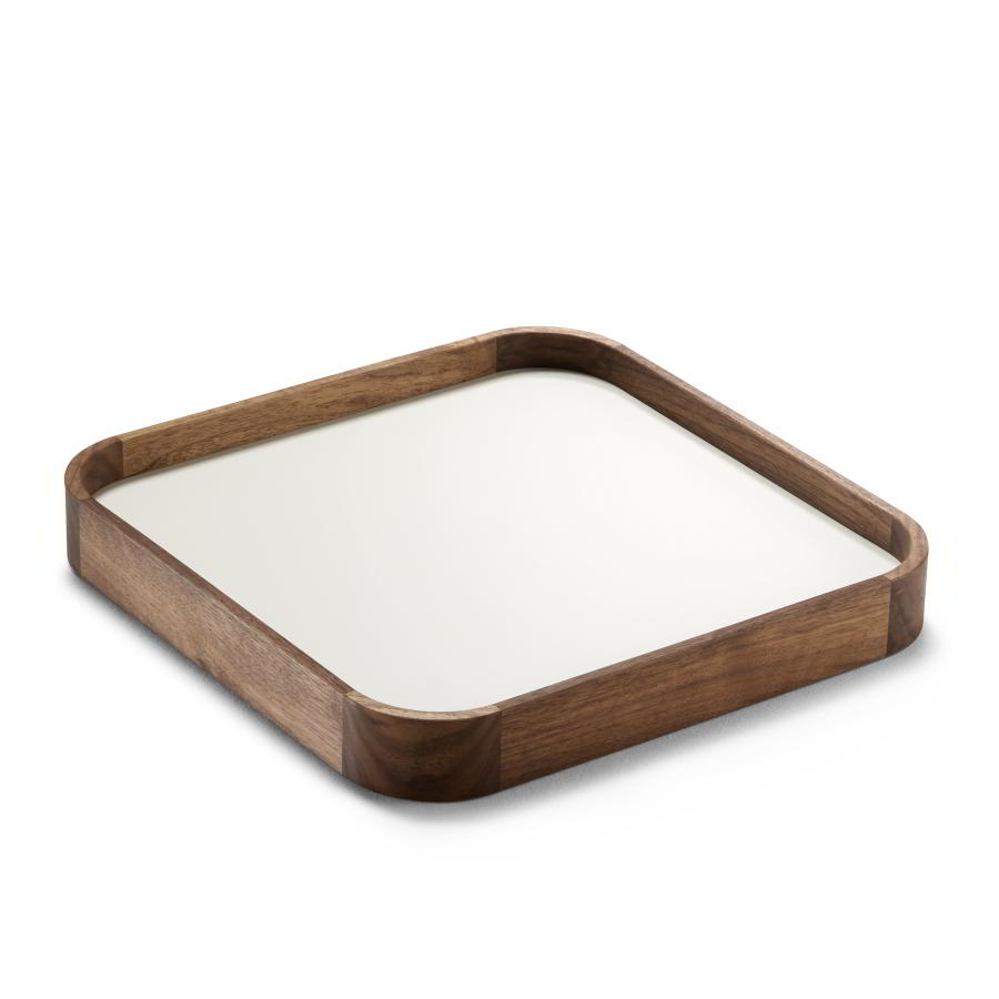 CHARLY Tablett quadratisch mit Nussbaum-Rand und Platte aus Getalit creme