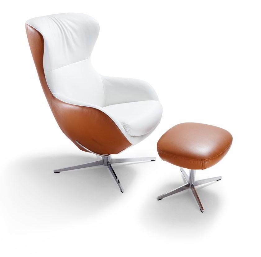 JESTER Sessel zweifarbig mit Leder bezogen