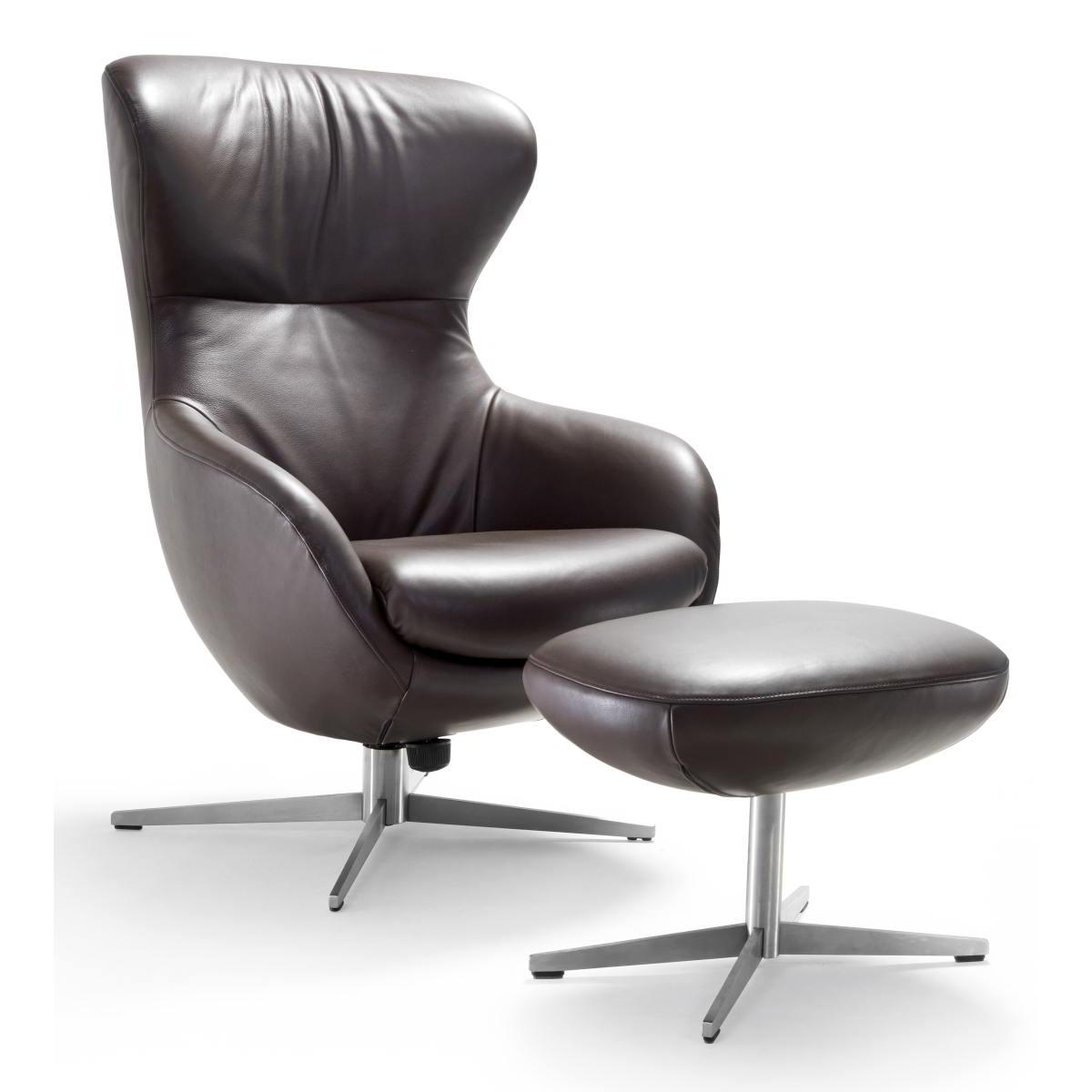 JESTER Sessel mit Hocker in Leder bezogen