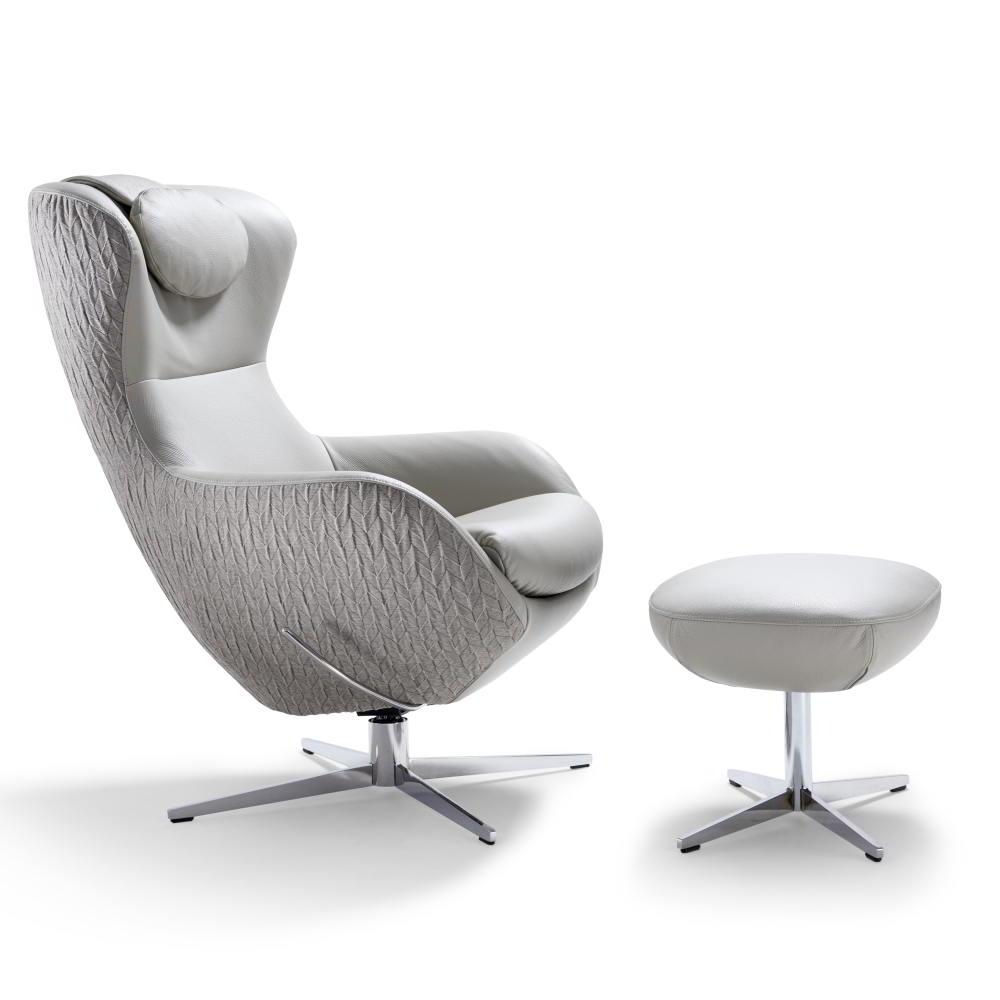 JESTER Sessel mit zwei unterschiedlichen Stoffen bezogen, mit Kopfstütze (optional) und Hocker