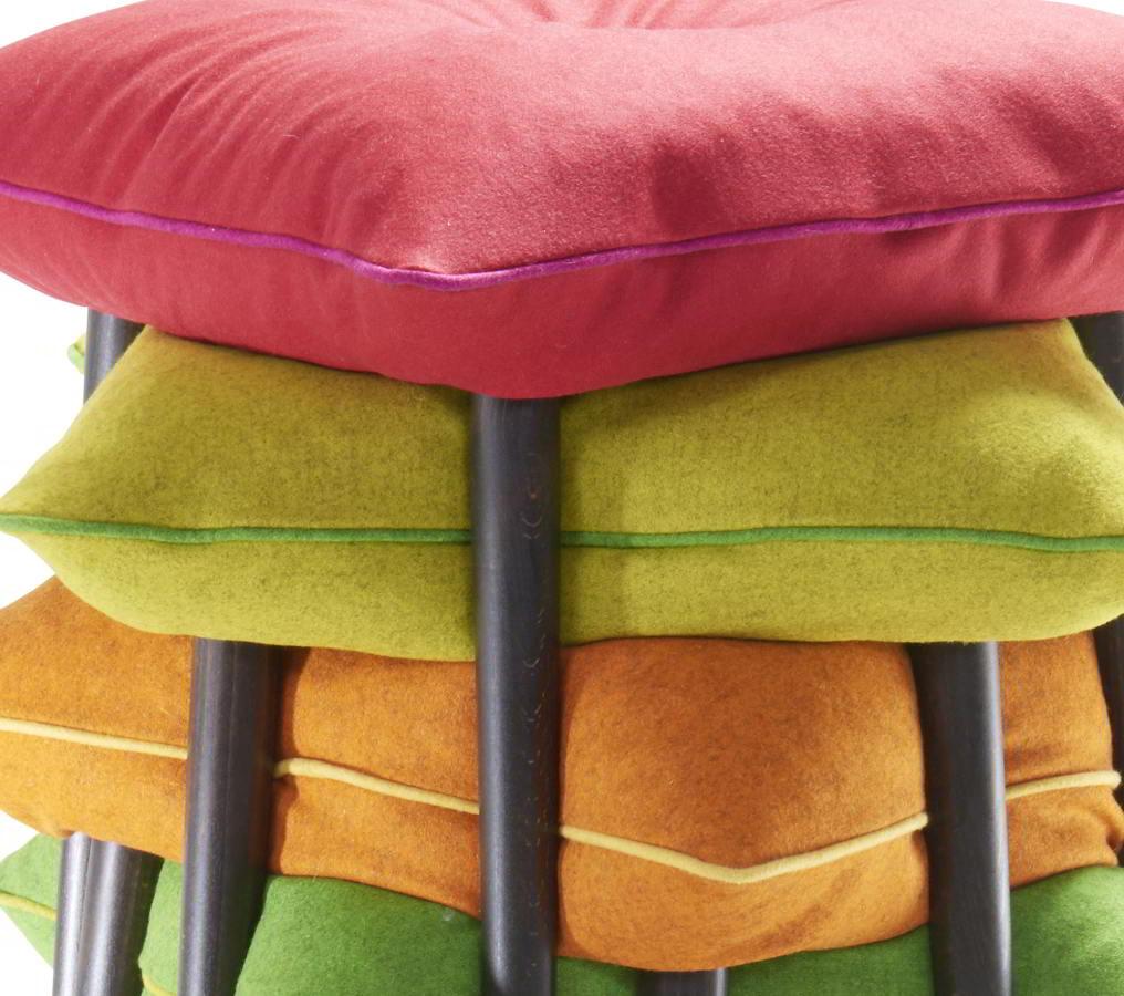 Details vom BIFF Hocker, Bezug MILAN und Knopf / Keder in einem anderen Farbton