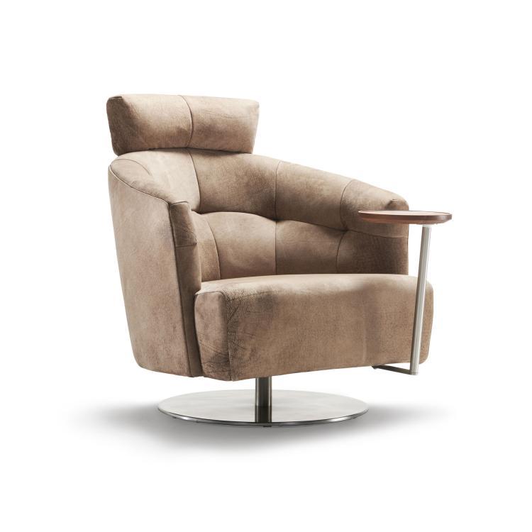 MATHEO Sessel mit ferstellbarer Kopfstütze und Schwenktisch (hoch)