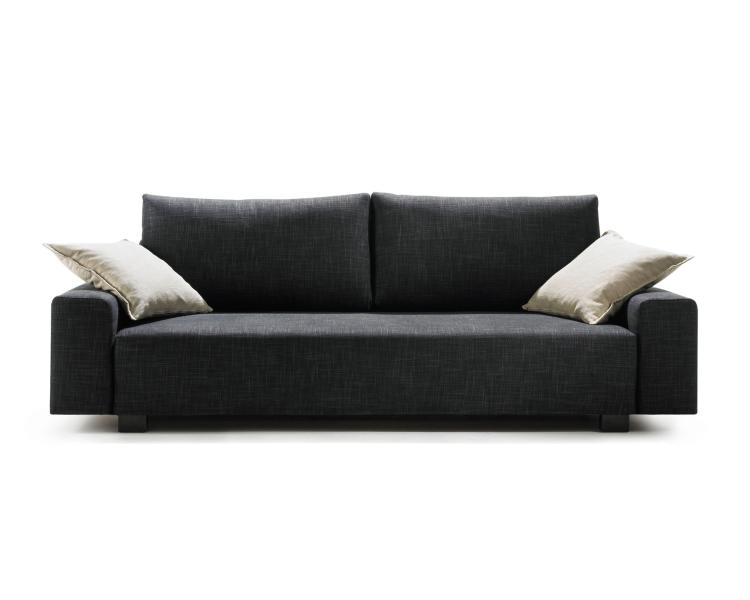 PALLINI Sofa mit niedrigen Armlehnen, Kissen CLASSIC, Bezug FILA anthrazit, 2 zusätzliche Spitzkissen