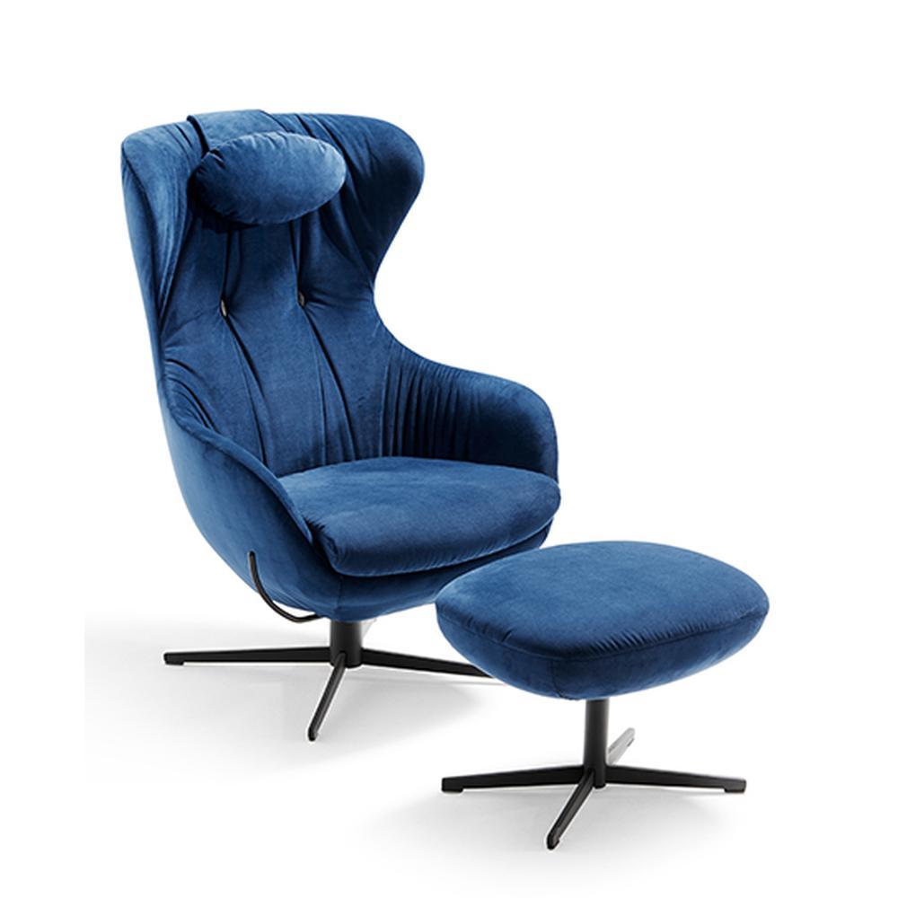SHAR PEI Sessel mit Hocker, Stoff blau
