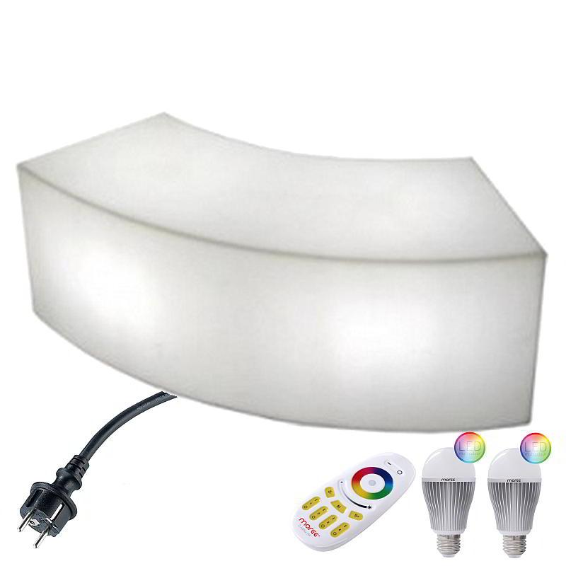 SNAKE Sitzbank Outdoor mit LED-Birnen Beleuchtung, Funk-Fernbedienung
