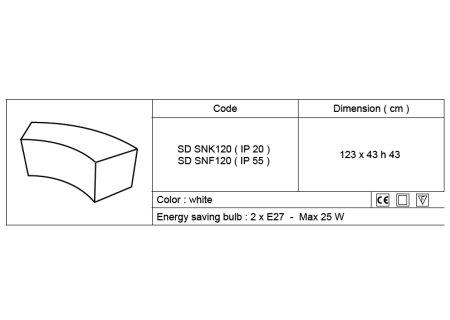 SNAKE beleuchtetes Sitzelement, technische Daten
