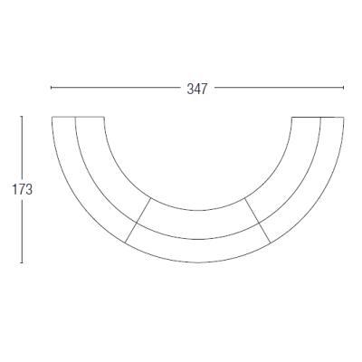 BREAK BAR beleuchtet 3 Stück als Halbkreis