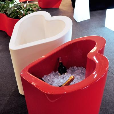 MON AMOUR Vase rot hochglanzlackiert, als Flaschenkühler