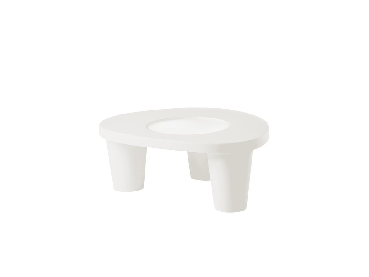 LOW LITA Gartentisch, mit Glasplatte, milky white