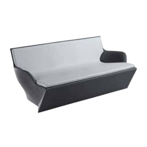 KAMI YON Sofa grau mit Kissen hellgrau