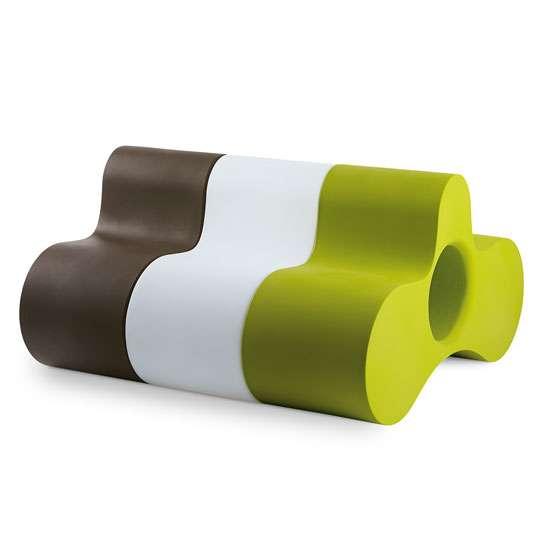 WHEELY Tisch / Bank braun, weiß und grün